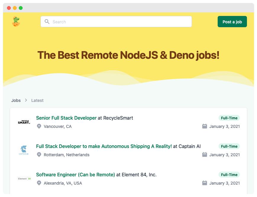 screenshot of the demo job board